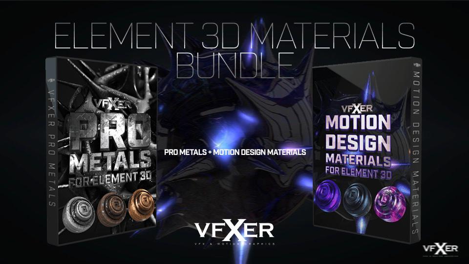 《E3D超强材质包_金属材质+运动设计_VFXER - Element 3D Materials Bundle》