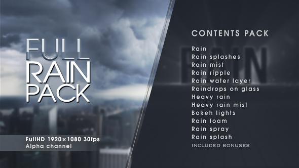 《AE模板:Full Rain Pack_各种下雨雨水雨滴雨溅雨雾雨涟漪+视频素材》