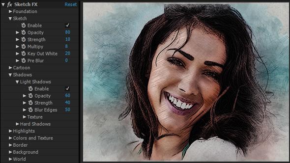 《AE模板:Sketch FX 铅笔素描草图手绘风格展示(图片|视频)》