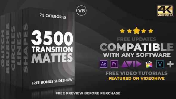 《素材:终极视频遮罩转场包 Ultimate Transition Mattes Pack v8_+AE模板》