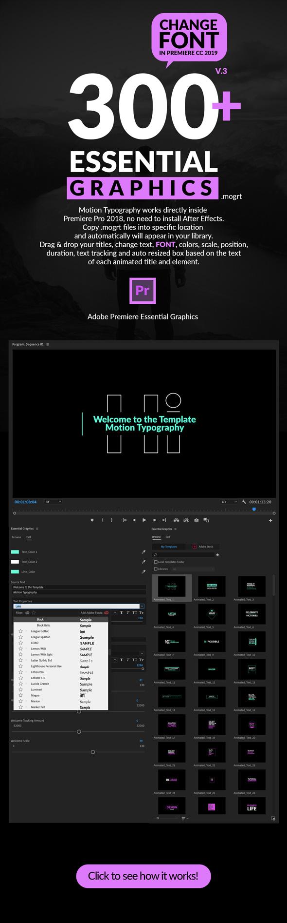 《AE/PR模板:Videohive Motion Typography v5 500+运动图形文字排版动画+PremiumBuilder扩展脚本+.Mogrt》