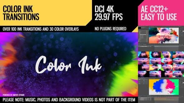 《AE模板:Color Ink Transitions_100多种彩色水墨转场过渡》