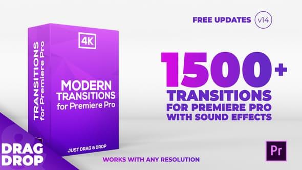 《PR模板:Modern Transitions V14_现代转场过渡效果_超1500个转场+156种声音效果》