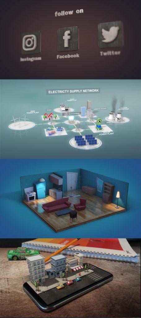 《AE模板:3D低多边形运动图形库_3D Motion Graphic Library_Element 3D》