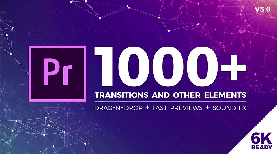 《PR模板:Seamless Transitions v5.0.2_超1000个无缝转场过渡+超230个转场音效+超100多种颜色预设》