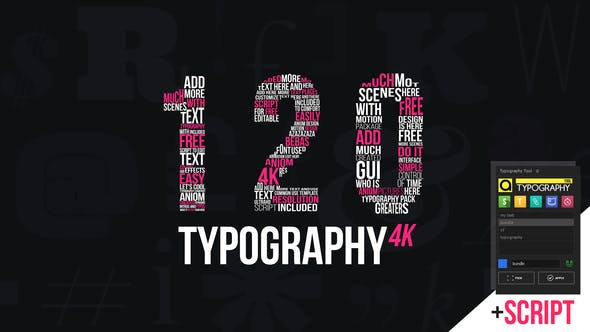 《AE模板:Kinetic Typography 4K Package_动力学文字标题排版4K包_包含Typography Tool脚本》