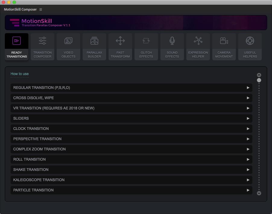 《AE扩展脚本:MotionSkill Composer v1.1_集运行图形/转场过渡/视差工具/故障毛刺/音效/摄像机工具/表达式工具等 为一体的工具包+使用教程》
