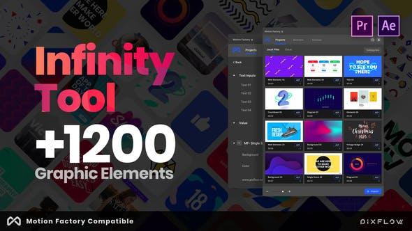 《AE/PR模板:Infinity Tool_1200+动画图形模板(Motion Factory Beta版)》
