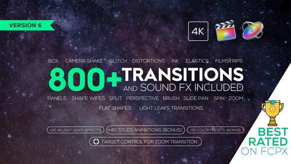 《FCPX插件:800+无缝转场过渡及音效_标题动画_光晕炫光视频素材_颜色预设》
