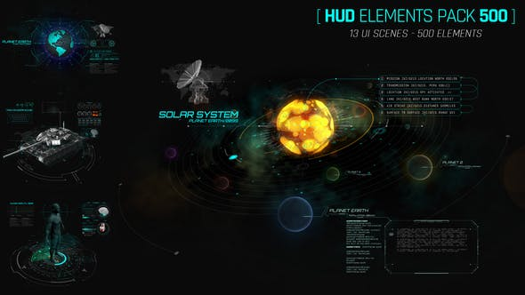 《AE模板:Hud Elements Pack_500+高科技Hud图形元素包》