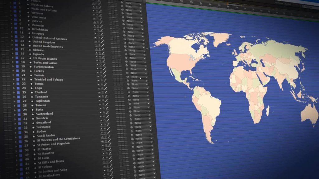 《AE模板:World Map Presentation_世界地图旅行动画工具包》