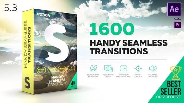 《AE脚本:Handy Seamless Transitions V5.3_1600+超级无敌无缝转场包(Motion Bro)》