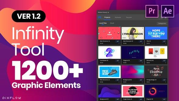《AE/PR模板:Infinity Tool v1.2_1200+动画图形模板(Motion Factory Beta版)》