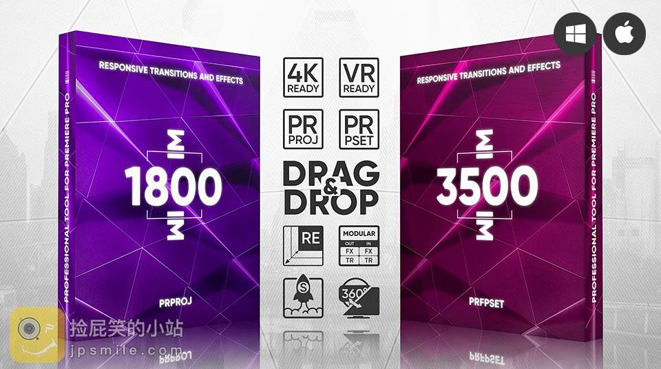 《PR预设/模板:Transitions Presets Pack V.2_超5000个PR无敌转场过渡预设及工程文件》