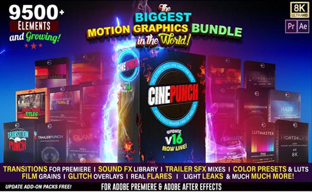 《CINEPUNCH v16_超9500个特效预设元素_号称全世界最强大最丰富的特效套装》