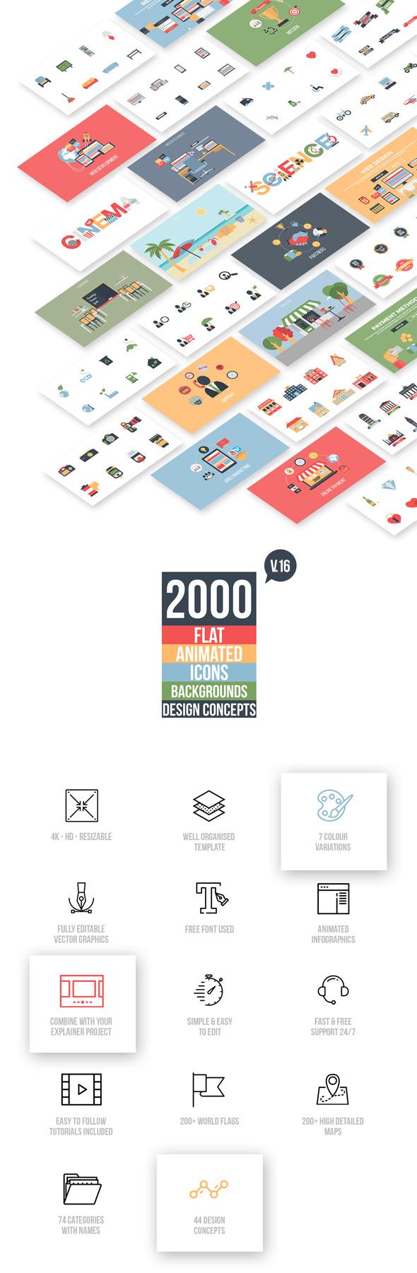 《AE扩展:Flat Animated_Icons Library _2000个平面MG扁平化动画图标场景工具包(PremiumBuilder)》