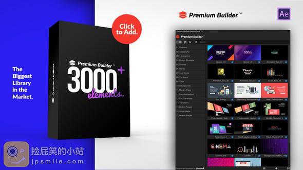 《AE扩展+预设:Motion Pack 超3000个运动图形MG元素预设包(PremiumBuilder)》
