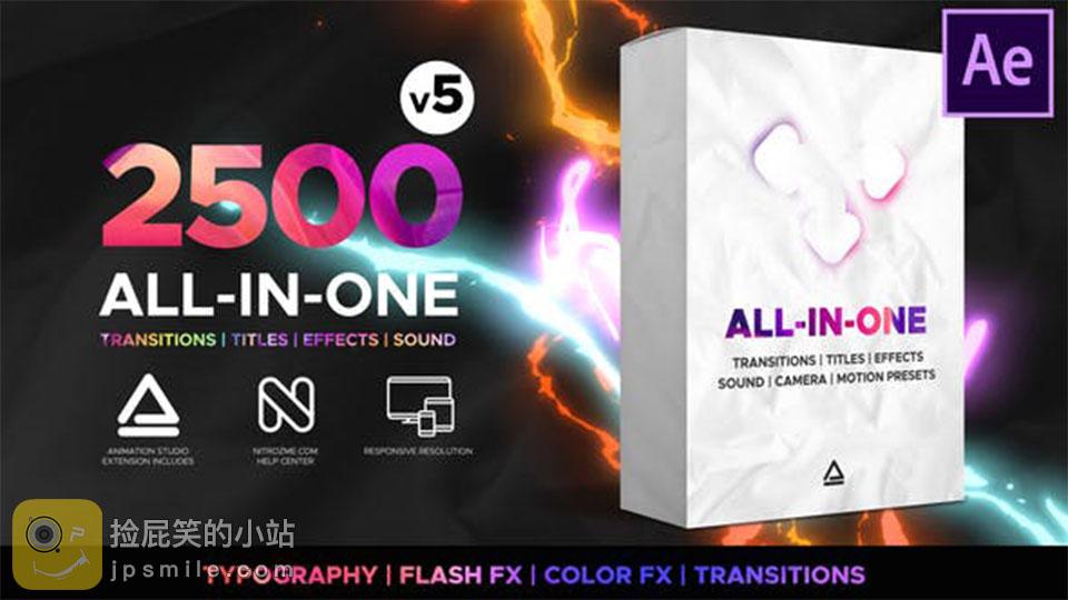 《AE扩展脚本/预设:Graphic Transitions_超2500个转场文字标题动画调色音效摄像机运动动画预设全能套装(Animation Studio)》