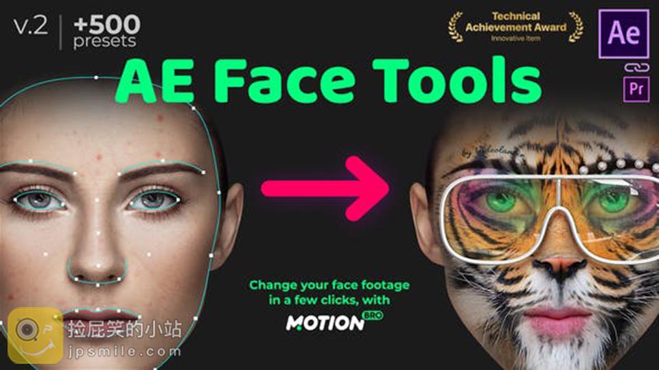 《AE扩展:AE Face Tools v2_人脸面部追踪贴图表情化妆美颜丑化换脸锁定特效预设工具(Motion Bro)+使用教程》