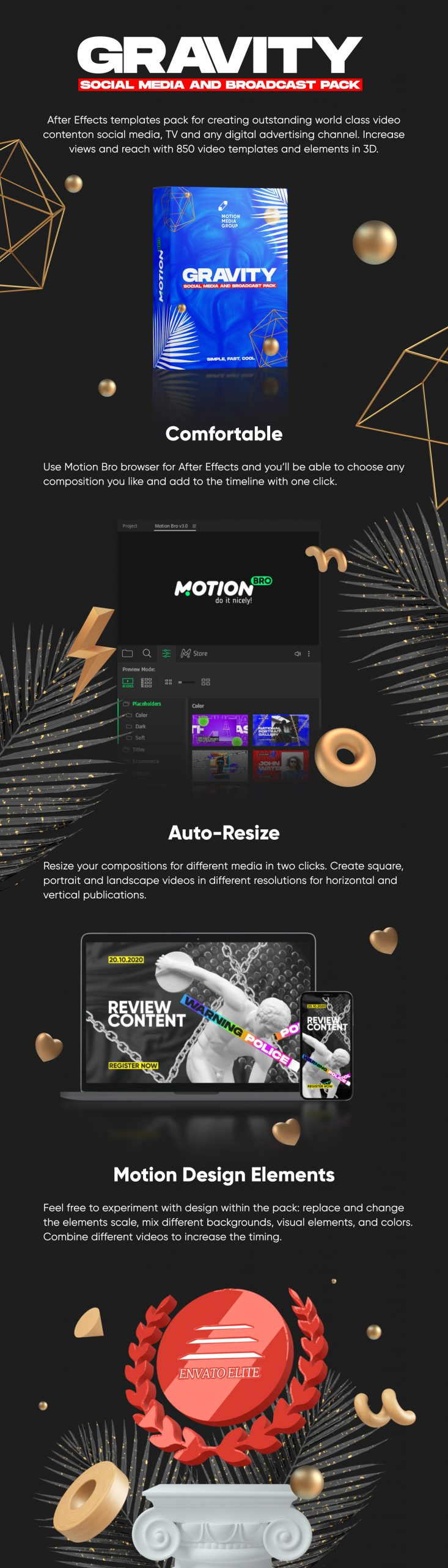 《AE扩展脚本:Gravity 850个创意文字标题广告海报设计促销视频社交媒体纹理背景等图形元素包(Motion Bro)》