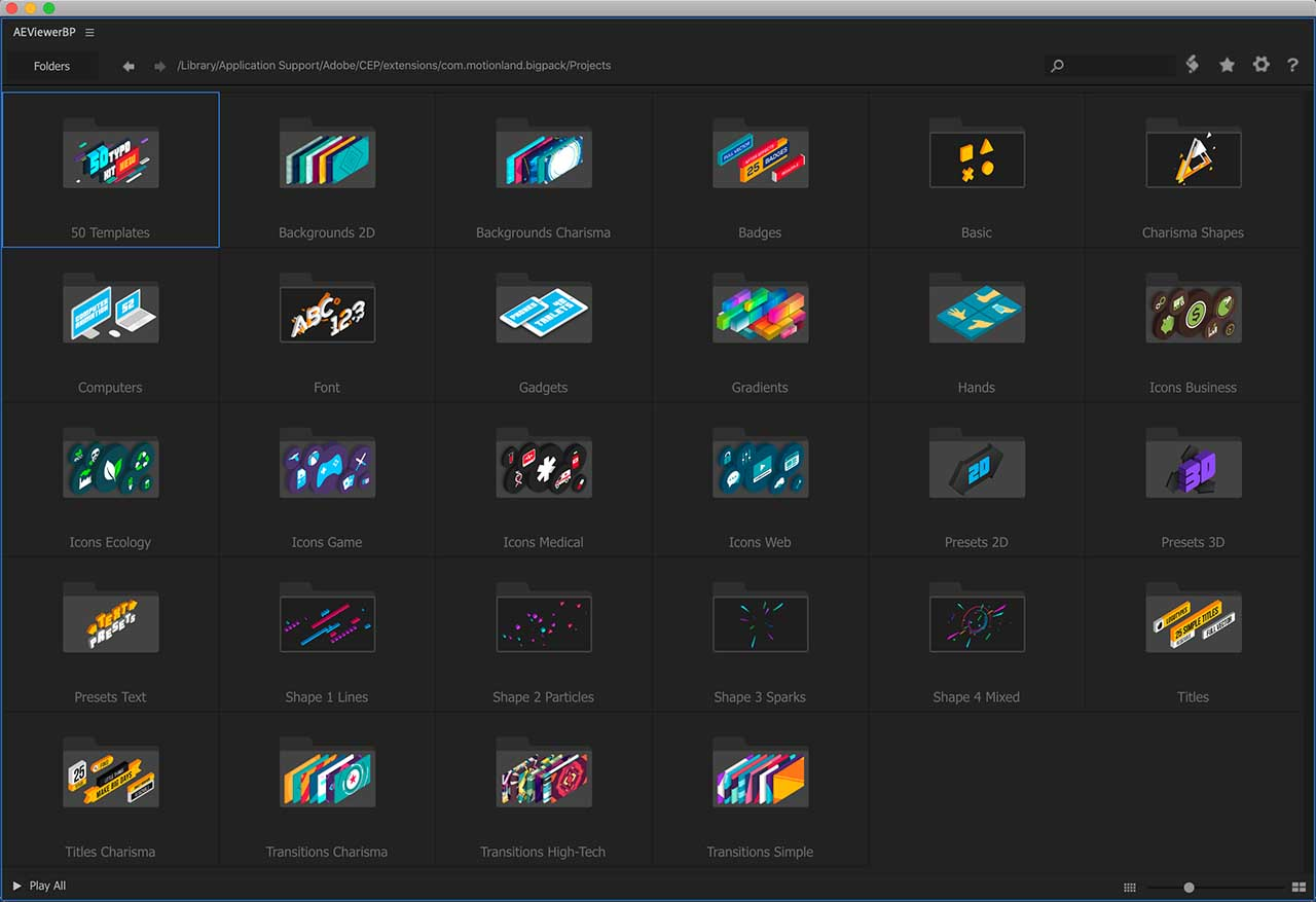 《AE扩展脚本:Big Pack of Elements v1.9.11 超1850个MG动画元素预设》