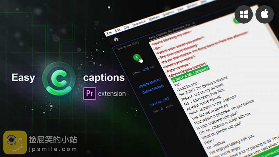 《PR扩展脚本:Easy Captions 搜索编辑SRT字幕——又一款上字幕利器》